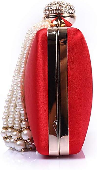 Borsa da Sera Pochette da Damigella d'Onore da Sposa per Donna per La Festa di Nozze (Color : Red) Red