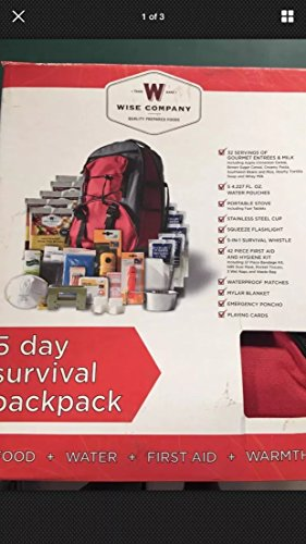 Wise Company Red 5 Day 1 Person Survival Backpack
