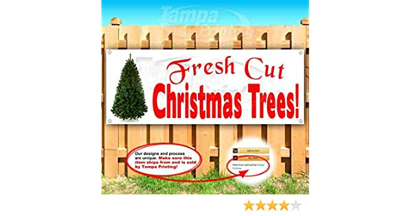 GROMMETS FRESH Cut Christmas Trees Banner  with Hem Free DESIGN