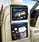 Zone Tech Backseat Automobile Storage Organizer With Touch Screen Accessible iPad and Tablet Pocket - Premium Quality Black Headrest Backseat Convenient Traveling Automobile Storage Organizer