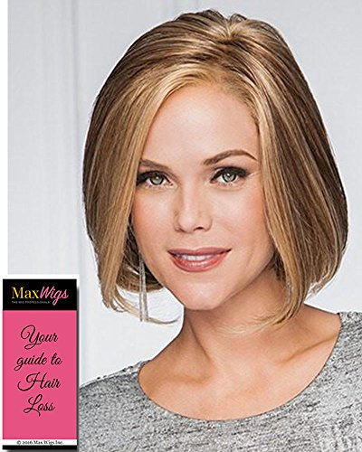 High Society Wig Color GL 27-22 CARAMEL - Gabor Wigs Chin Length Page Synthetic Lace Front Monofilament Part Women's Hand Knotted Bundle with MaxWigs Hairloss -