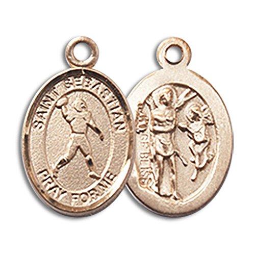 Bonyak Jewelry 14kt Yellow Gold St. Sebastian/Football Medal 1/2 x 1/4 inches ()