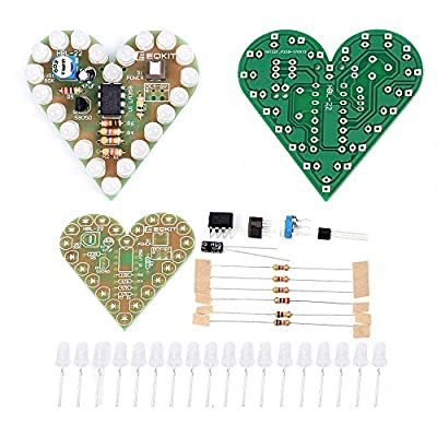IS Icstation Heart Shape LED Flashing Lights Kit Electronics Soldering Practice Set 4 in 1 (Red,Blue,Green,White): Toys & Games