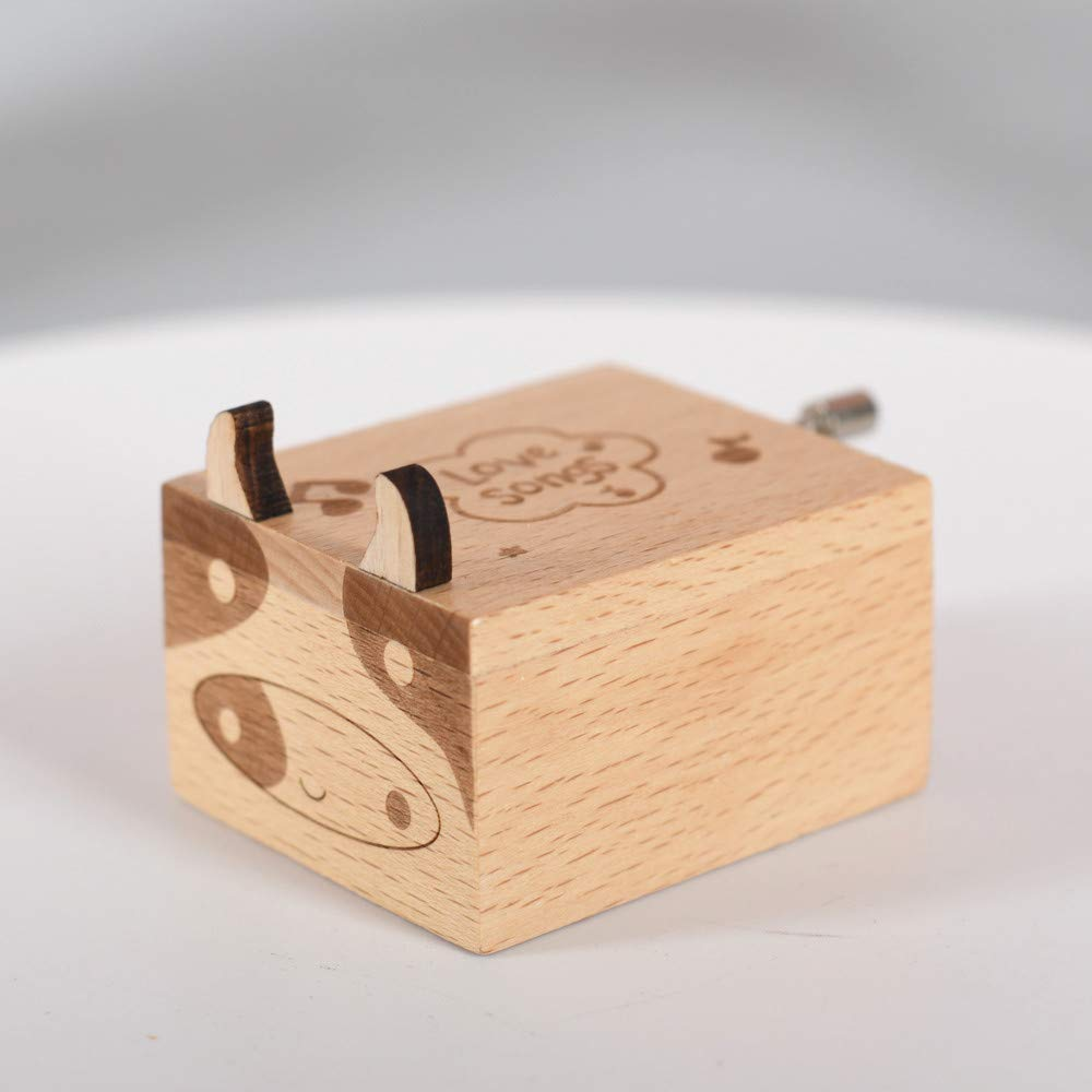 Chonor Mini Cartoon Animals Wooden Musical Box Premium Creative Hand Crank Wooden Crafts Music Box Best Gift and Decorations Idea for Birthday Christmas #1