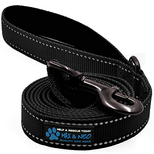 - Max and Neo Reflective Nylon Dog Leash - We Donate a Leash to a Dog Rescue for Every Leash Sold (Black, 6 FT)