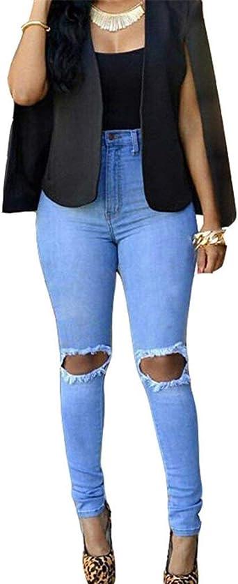 Pantalones Vaqueros De Mujer Pantalones Pitillo Rotos En La Rodilla Sencillos Jeans De Cintura Alta Pantalon Agujeros De Cintura Alta Pantalones De Lapiz De Cher Grietas Estilo Amazon Es Ropa Y Accesorios