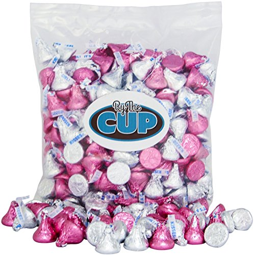 Hershey's Kisses Milk Chocolate - Silver & Pink It's a Girl Candy 2 Pound Bulk Bag - By The Cup -
