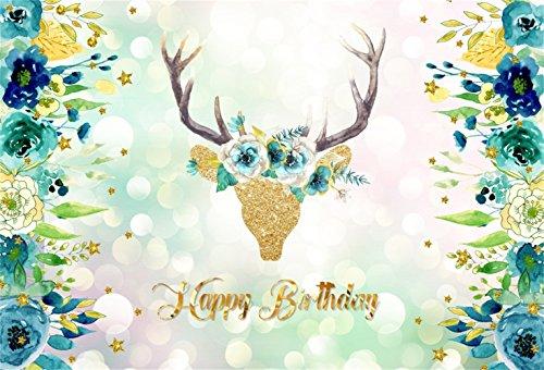 Laeacco Happy Birthday Backdrop 7x5ft Vinyl Golden Glitter Floral Deer Head Dreamlike Bokeh Haloes Photography Background Blue Flower Edges Kids Child Baby Shoot Birthday Party Banner Cake Smash