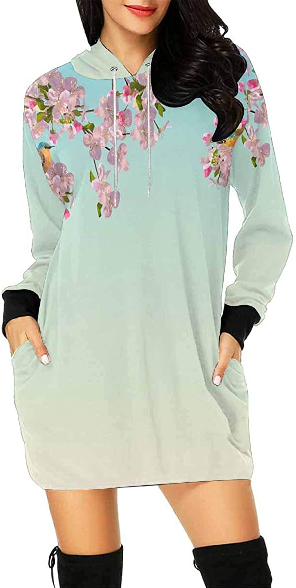 InterestPrint Women's Hoodie Dress Tunic Long Tops Sphynx Cat Breed Collection Long Sleeve Pullover Sweatshirt