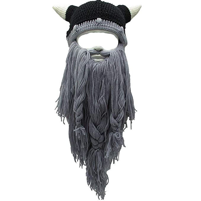 57333c0095d Amazon.com  EBTOYS Viking Beard Beanie Horn Hat Winter Warm Mask Hat  Knitted Winter Hats Funny Skull Cap for Women Men- Grey  Clothing