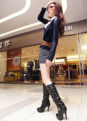Minetom Womens Ladies Long Boots Winter Leather Shoes Knee Long High Heel Boots Sexy Fashion Casual Cocktail Party Dress Accessories Black sZq4e