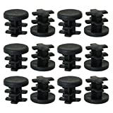 uxcell 13mm 0.51'' OD Plastic Tube Inserts Pipe Caps 12pcs, 0.4''-0.47'' Inner Dia, for Furniture Chairs Benches