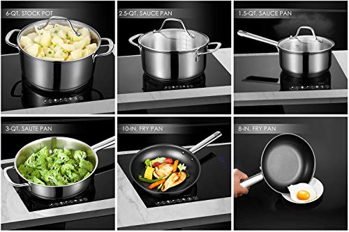Cookware Set Pots and Pans Sets Nonstick Stainless Steel Cookware Set Multi-Clad Pro Kitchenware Set 12-Piece Cooking Pots, with Oven Mitts