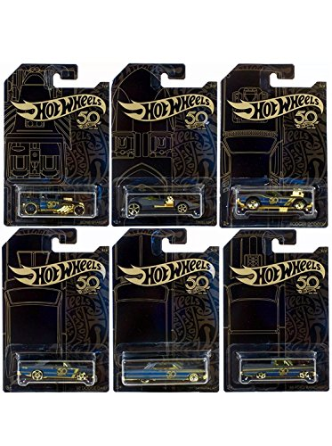 New 1:64 Hot Wheels 50th Anniversary Black & Gold Collection - Bone Shaker, Twin Mill, Rodger Dodger, Dodge Dart, Impala & Ford Ranchero Set of 6pcs Diecast Model Car By HotWheels ()