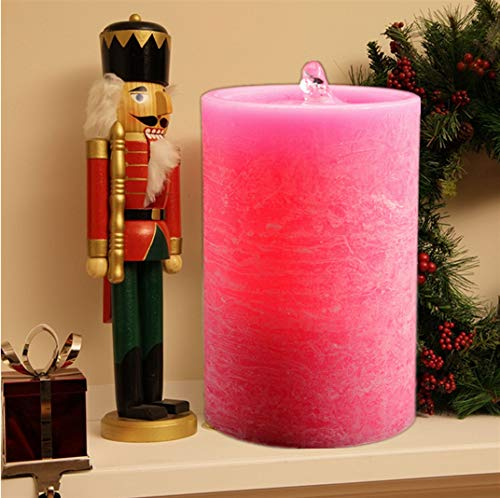 Kitch Aroma Dancing Water LED Pink Flameless Candles and Tabletop Water Fountain Candles, Premium Décor, Real Wax Water Candles