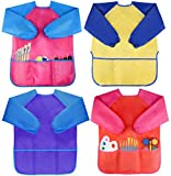 Pack of 4 Kids Art Smocks, Children Waterproof Artist Painting Aprons Long Sleeve with 3 Pockets for Age 2-6 Years by Bassion
