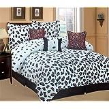 Dovedote Dovedote Zambia Leopard Animal Print Comforter Set, Microfiber, KING, 7 Pieces