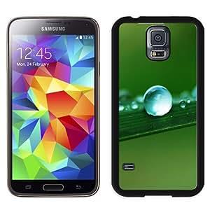 NEW Unique Custom Designed Samsung Galaxy S5 I9600 G900a G900v G900p G900t G900w Phone Case With Water Drop Macro Leaf_Black Phone Case
