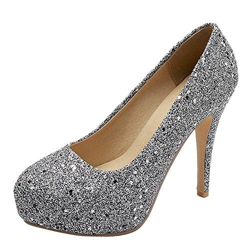 Mee Shoes Women's Shining Pointed Toe Stiletto Slip On Court Shoes Grey ikuHgjdYlX