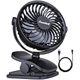 Clip on Fan, Portable Rechargeable Personal Battery Operated Small Fan, Quiet USB Desk Fan, Super Grip Stroller Fan with 4 Speeds Adjustable Head, Perfect for Desktop, Table, Office, Camping, Dorm