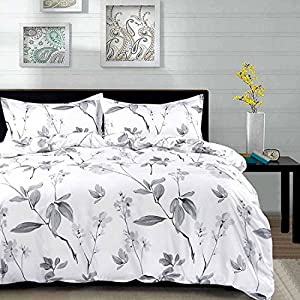 NANKO Queen Duvet Cover Set Floral, 3 Piece - 90 x 90 Luxury Hypoallergenic Microfiber Down Flowers Comforter Quilt Cover with Zipper Closure, Ties - Best Organic Modern Style for Men and Women Bed