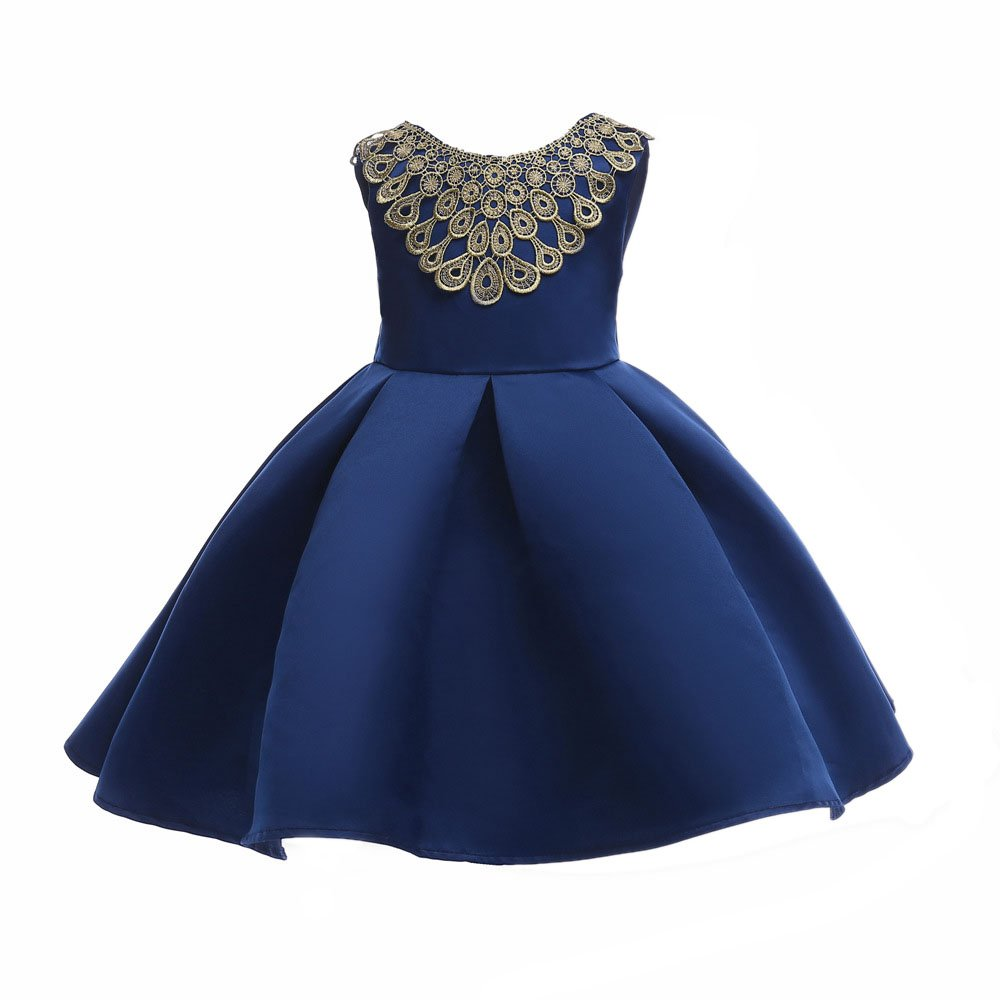 Meteora Baby Girl Dress Party Wedding Lace Dresses 3-8T (Deep Blue, 6-7T)