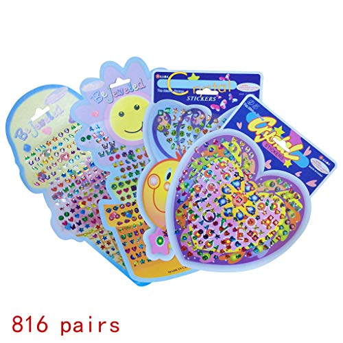 816 Pairs Sticker Earrings, HYHP Girls Stick on Earrings Ear Rings Stickers (Assorted Patterns)