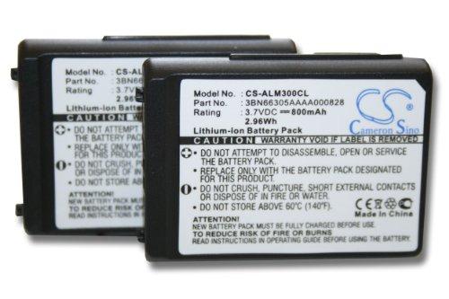vhbw 2x Li-Ion Akku Set 800mAh (3.7V) für schnurlos Festnetz Telefon Alcatel Mobile 300 DECT, Mobile 400 DECT wie 3BN66305AAAA000828.