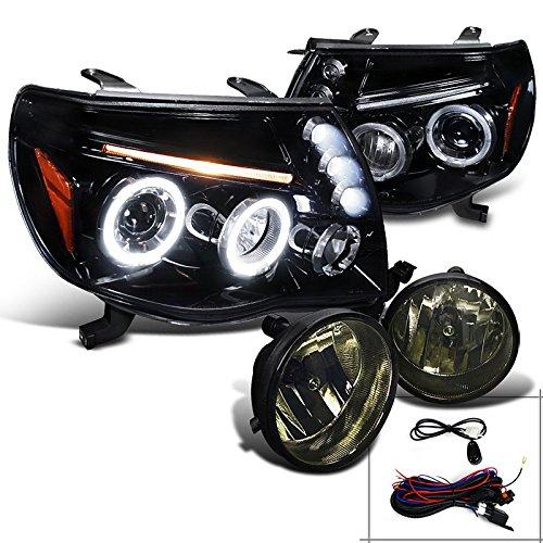 Tacoma Glossy Black Halo LED Projector Headlights+Smoke Fog Lamps (Tacoma Black Headlights compare prices)