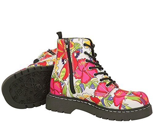 T.U.K. Shoes Womens Anarchic By T.U.K. 7 Eye Boot Parrot Tropical Print White & Multi Colour