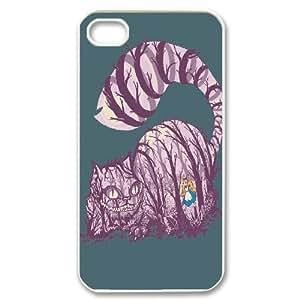 iPhone 4/4s Cases Alice In Wonderland cat Design For Men, Case For Iphone 4 Cheap Design For Men [White]