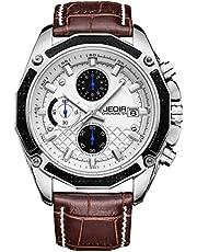 JEDIR Herren Uhren Chronograph Quarzuhr Klassisches Design Datum Anzeige und Lederarmband