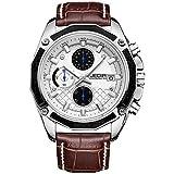 JEDIR Men's Chronograph Watch Multifunction Quartz Watches Classic Fashion Design Date Calendar and Leather Band