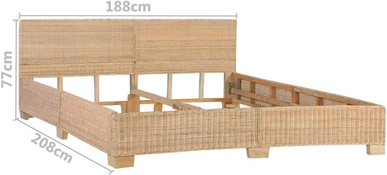 vidaXL Estructura de Cama Tejida a Mano Ratán Auténtico Casa Hogar Habitación Dormitorio Decoración Mobiliario Muebles Interior Diseño 180x200 cm: Amazon.es: Hogar