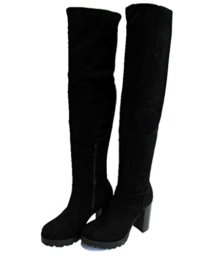 spätester Verkauf 2019 authentisch klassische Schuhe Super Me® Damen Overknees Stiefel Blockabsatz Wildleder ...