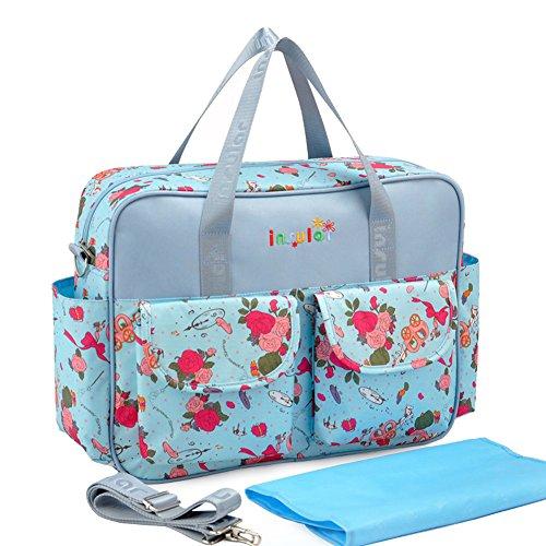 Moda viaje portátil mamá bolso multifunción bebé pañales gran capacidad azul Talla:talla única azul