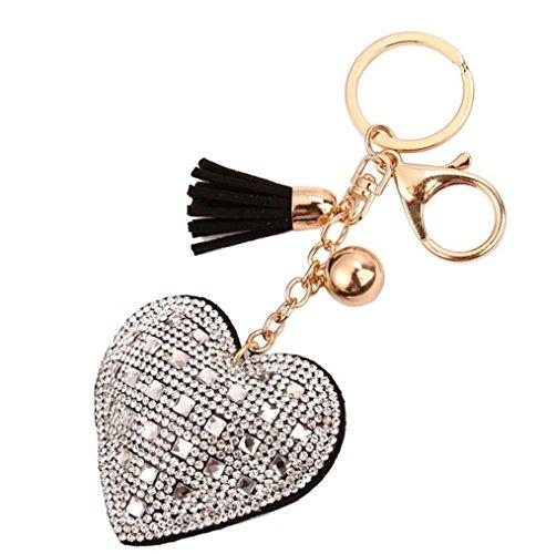 - Freedi Heart Diamond Tassels Keychain Leather Cute for Car Key Ring Handbag Pendant Decor