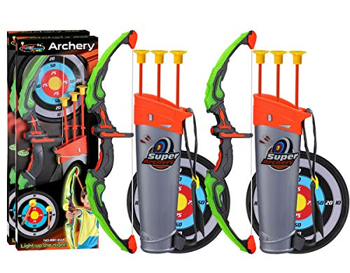 POKONBOY 2 Sets Archery Bow and Arrow for Kids, Kids Bow and Arrow Toy with Target and Quiver - LED Light Up Function Toy for Boys Girls Teens Indoor and Outdoor Garden Fun Game Christmas