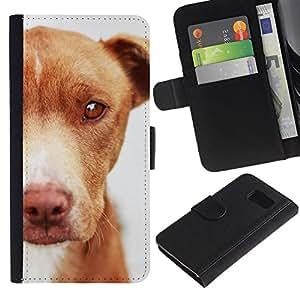 EuroCase - Samsung Galaxy S6 SM-G920 - mutt mongrel dog brown canine - Cuero PU Delgado caso cubierta Shell Armor Funda Case Cover