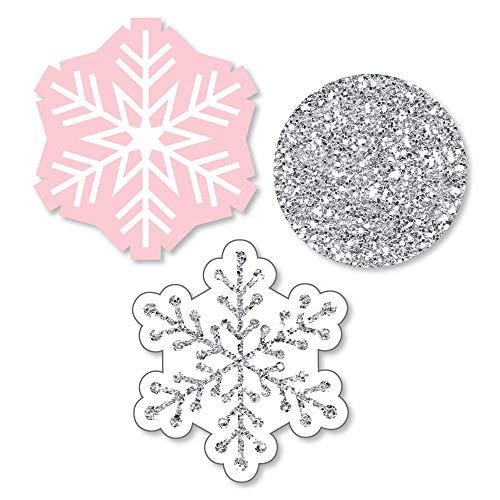 Pink Winter Wonderland - Shaped Holiday Snowflake Birthday Party or Baby Shower Cut-Outs - 24 Count -