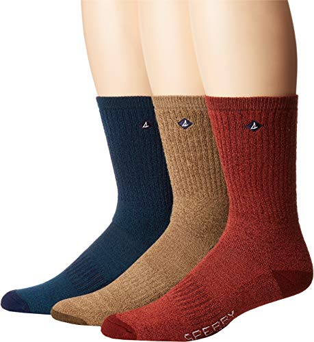 's 3 Pack Soft Extreme Core Crew Socks, Teak Marl Assorted, Shoe 6-12/Sock Size 10-13 ()