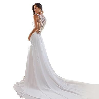fc2b6a916c800 JJ-GOGO Sexy Backless V-Neck Sweetheart Princess Dress White Trail Bride  Wedding Dress