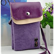 Big Mango Multipurpose Cute Cat Design Two separated Pouches Cell Phone Soft Fuzz and PU Leather Bag Crossbody Purse for Apple Iphone 4 4s Iphone 5 5s 5c Samsung Galaxy S4 S3 Galaxy Note 2 HTC Money Key Cards with Shoulder Strap & Magnetic Snap Buttom Closure ( Purple )
