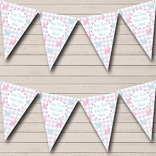 Pink Blue Easter Chick Bunny Personalized Easter Party Bunting Banner Garland