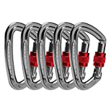 Locking Carabiner - 25kN 5600lb Climbing Carabiner Screw Gate D Shape Carabiner Silver (Pack of 5)