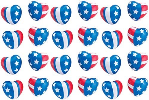 HAPPY DEALS ~ Patriotic Party Mini Heart Foam Stress Balls and Squeeze Toys (24 -