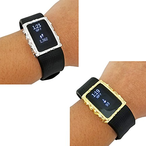 Jewelry to Accessorize the Fitbit Alta, Alta HR & Charge 2 - The Protective FRAME COVER in Gold, Silver or Rose Gold to Dress Up Your Tracker - BUNDLE PACK (Rose Gold/Rose Gold, Fitbit Charge 2) (Best Cyber Monday Deals On Fitness Trackers)