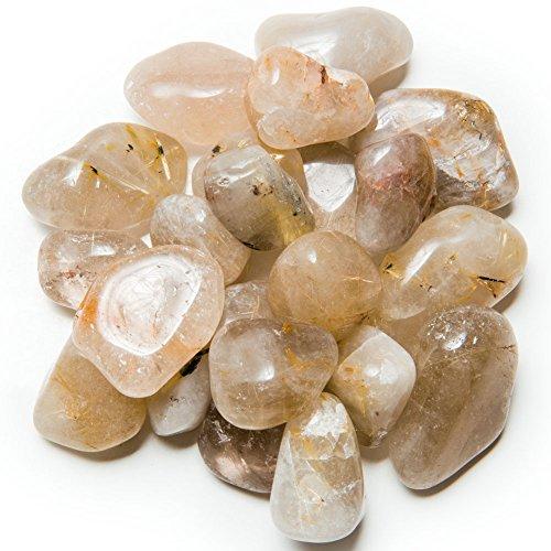Hypnotic Gems Materials: 1/2 lb Tumbled AAA Grade Rutilated Quartz - Medium - 1