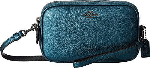 COACH Women's Metallic Crossbody Clutch Dk/Metallic Mineral Clutch
