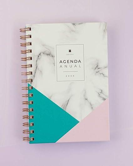 Casterli - Agenda Anual 2020 - Día página, tamaño A5 (Marble)